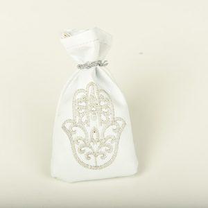 Petite Bourse de henna en blanc et broderie argentée