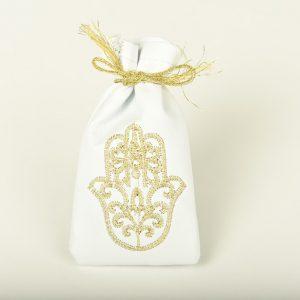 Petite Bourse de henna en blanc et broderie dorée