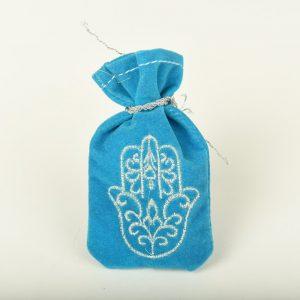 Petite Bourse de henna enBleu et broderie argenté