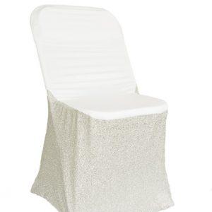 Housse de chaise Lycra avec attaches blanche avec paillette argent - location