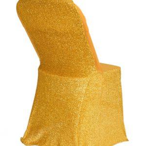 Housse de chaise Lycra doré avec paillette - location